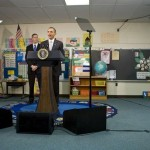 Showing great progress Obama addresses a sixth grade class with only two pompters